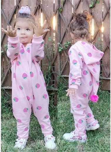 Riccotarz Kız Bebek Çilekli Ponpon Şapkalı Tulum Renkli